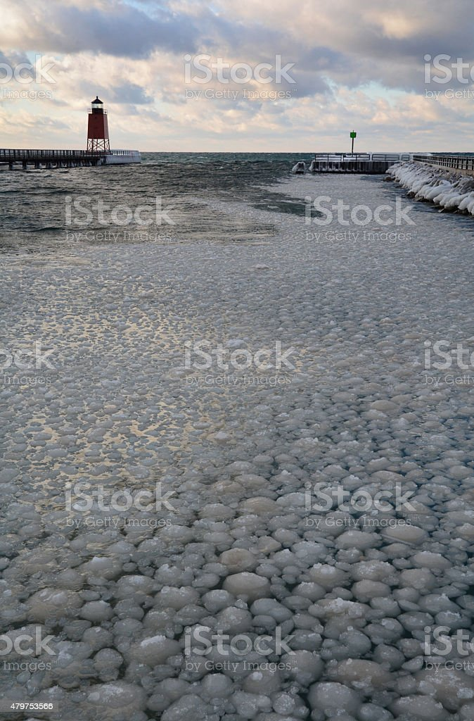 Chunks of Ice Fill a Channel in Lake Michigan royalty-free stock photo