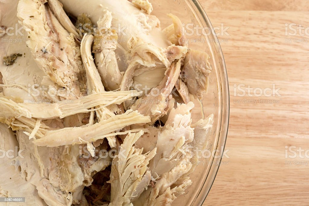 Chunks of turkey in bowl on counter top stock photo