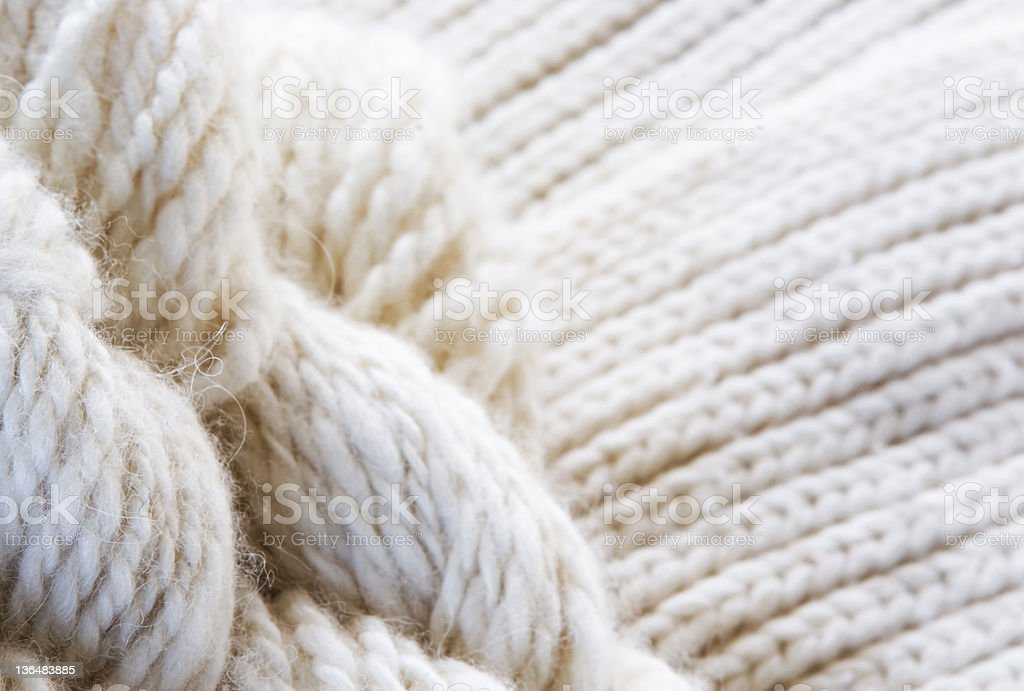 Chunky beige wool knitted sample stock photo