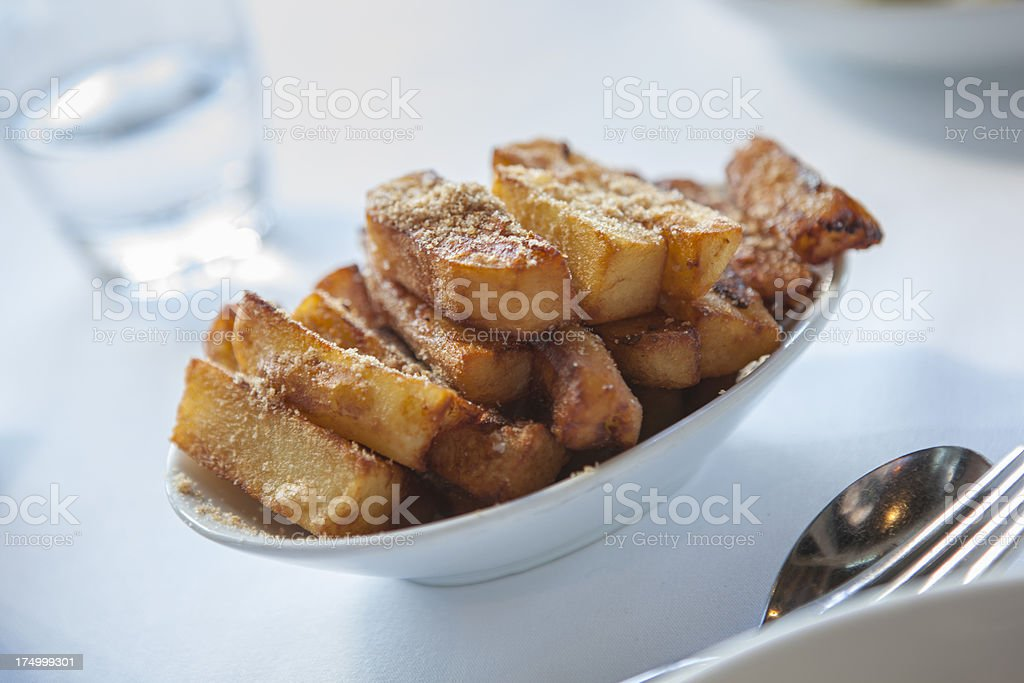 Chunky, hand cut chips or fries stock photo