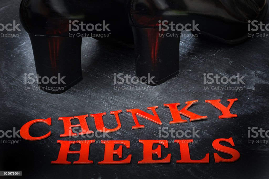 Chunky heels  in red type stock photo