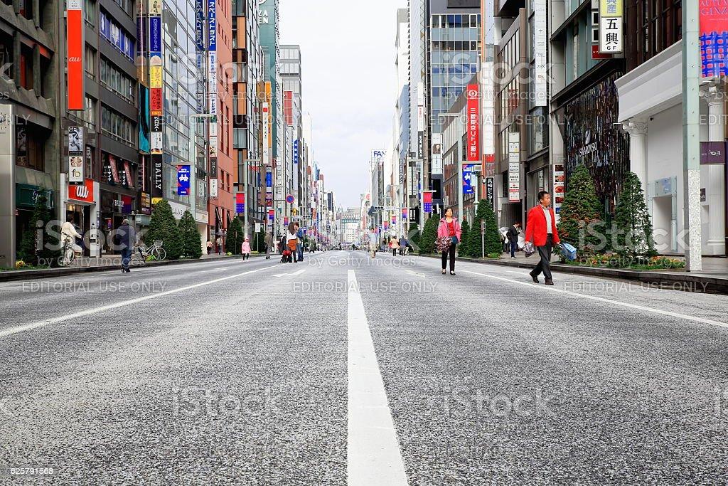 Chuo Dori street in Ginza district. Tokyo-Japan. 8217 stock photo