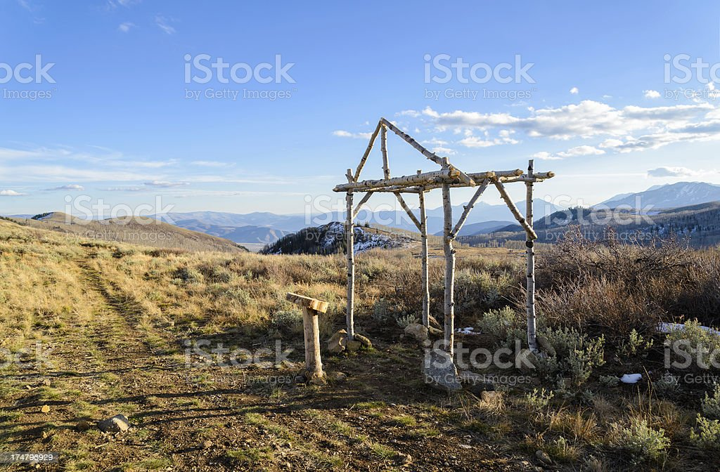 Chuppah and Scenic Mountain Wedding Site WIth Nobody stock photo