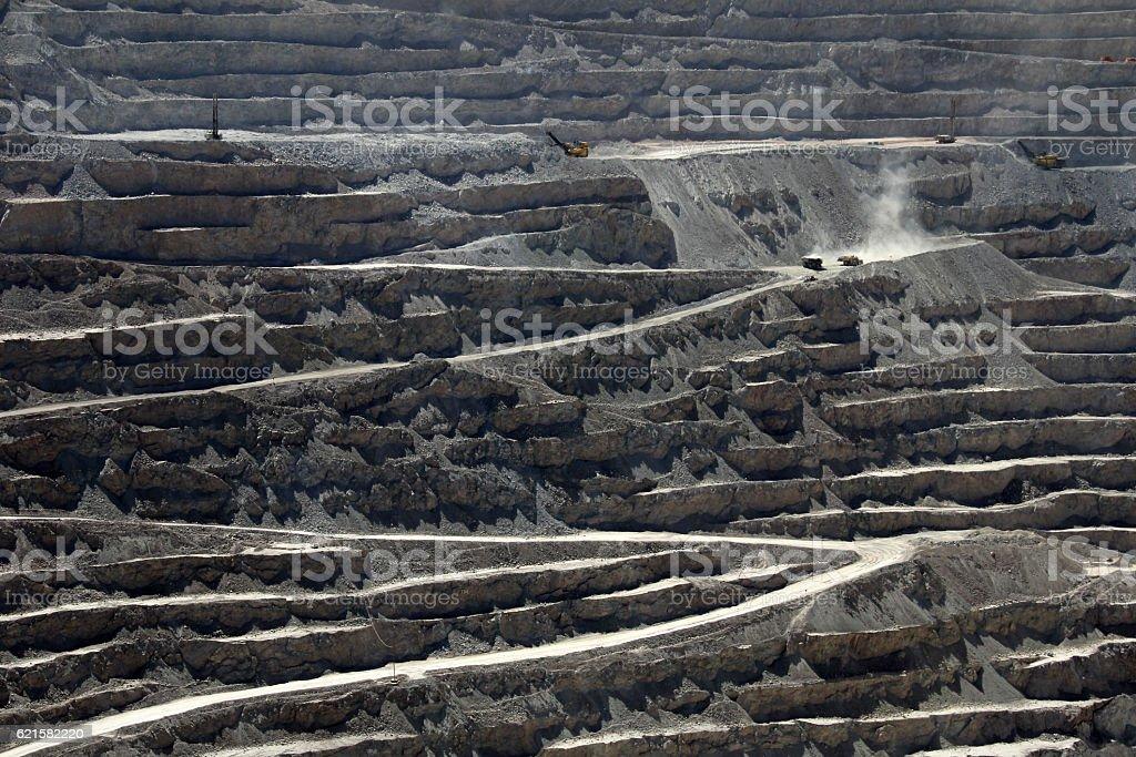Chuquicamata, world's biggest open pit copper mine, Chile stock photo