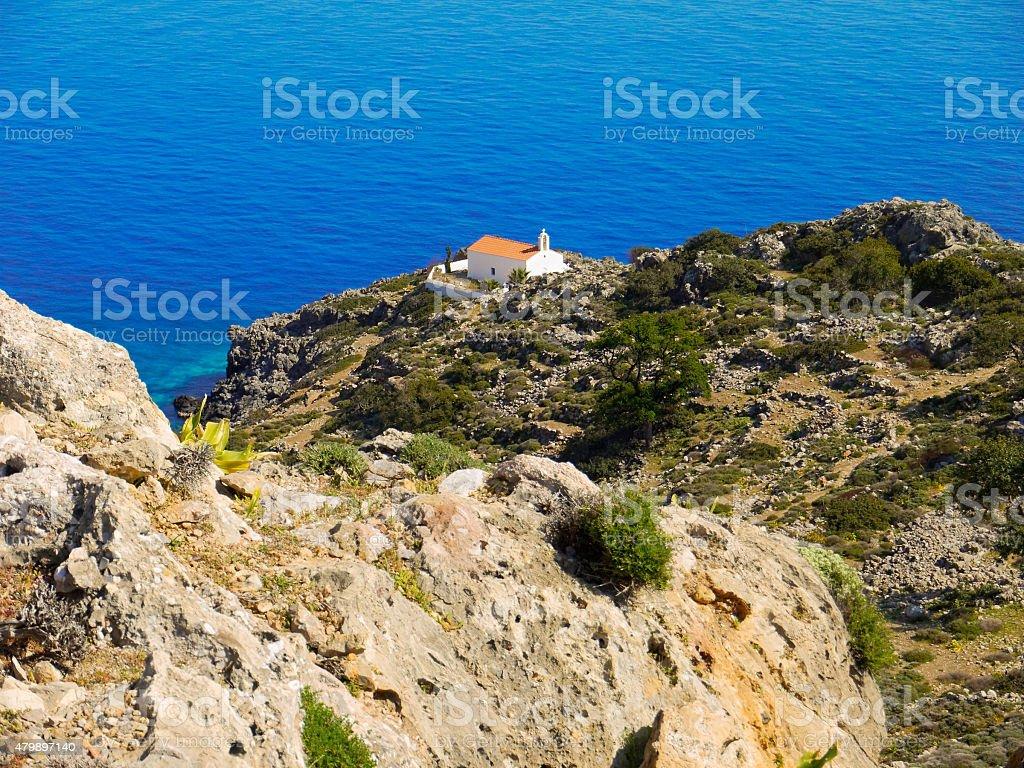 Church above the sea stock photo