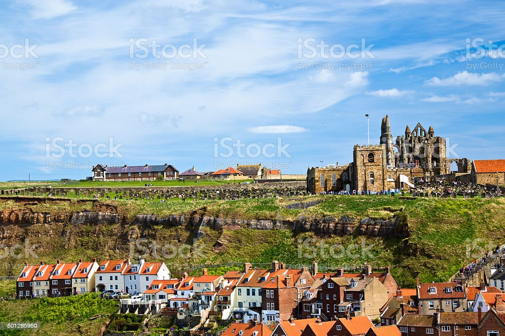 Church above whitby town royalty-free stock photo