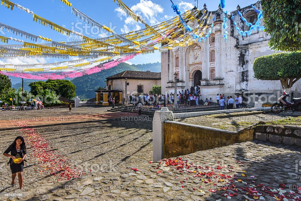 Church adorned for St John's Day, Guatemala stock photo