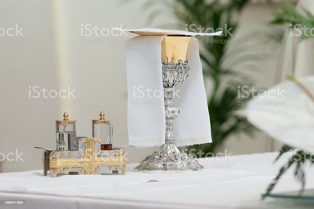 church altar during mass stock photo