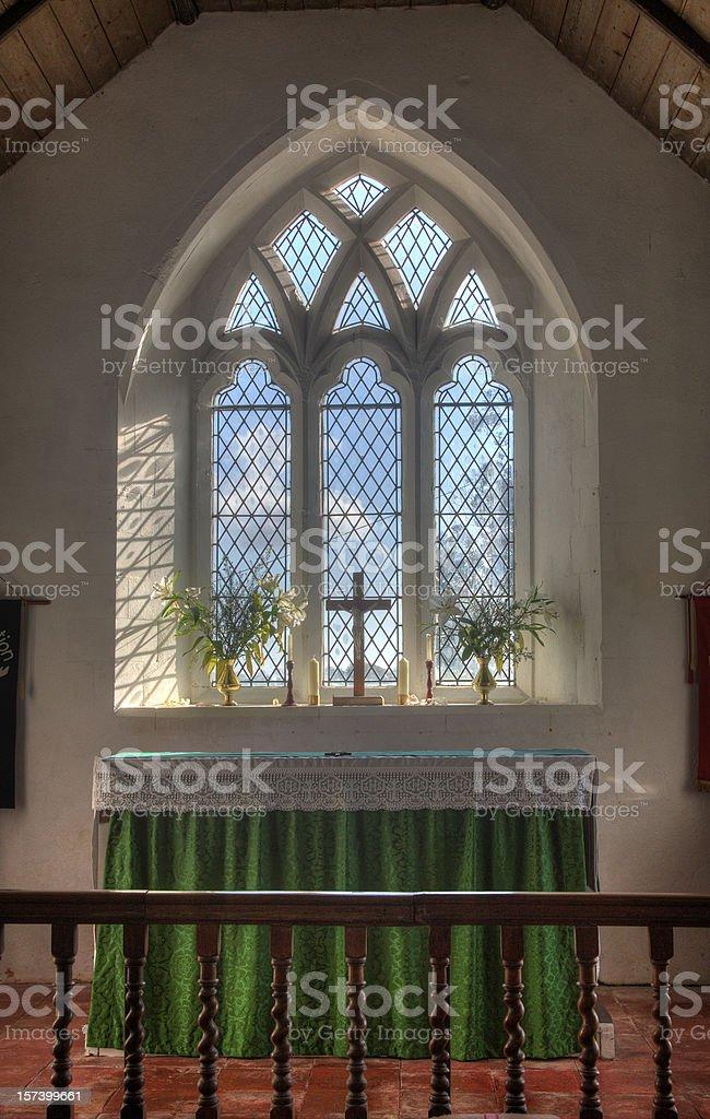 Church altar full view window light stock photo