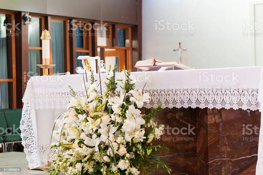 Church altar stock photo