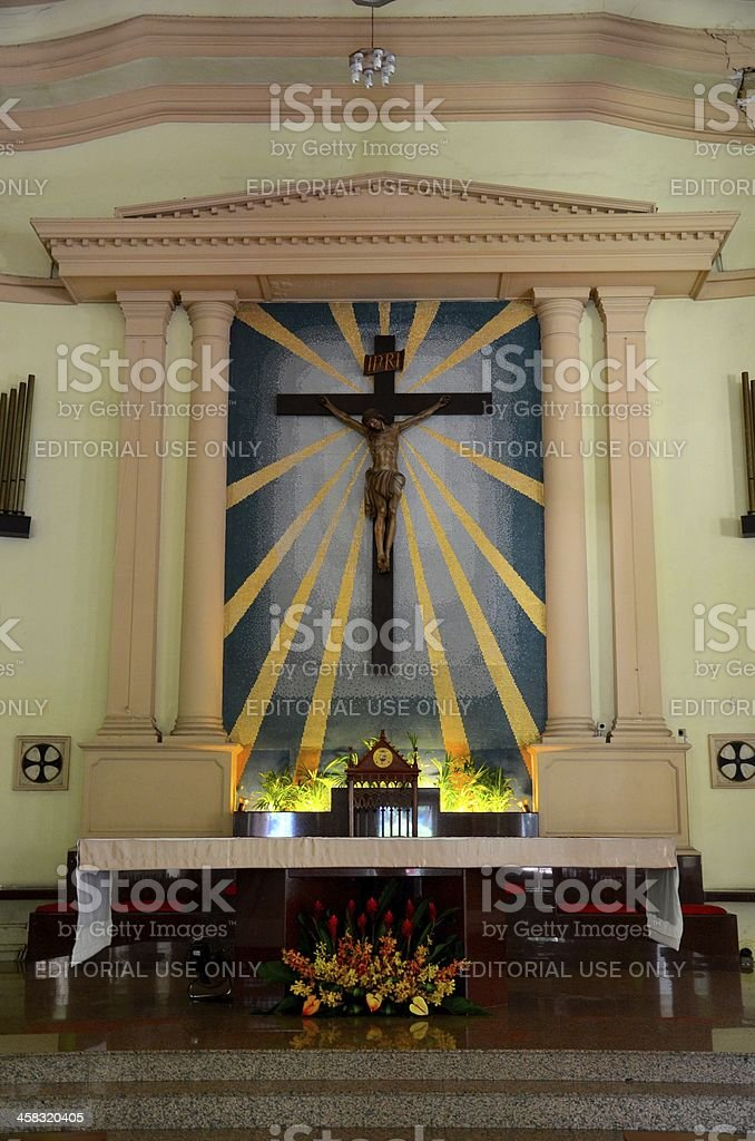 Church altar with Christ crucifix royalty-free stock photo