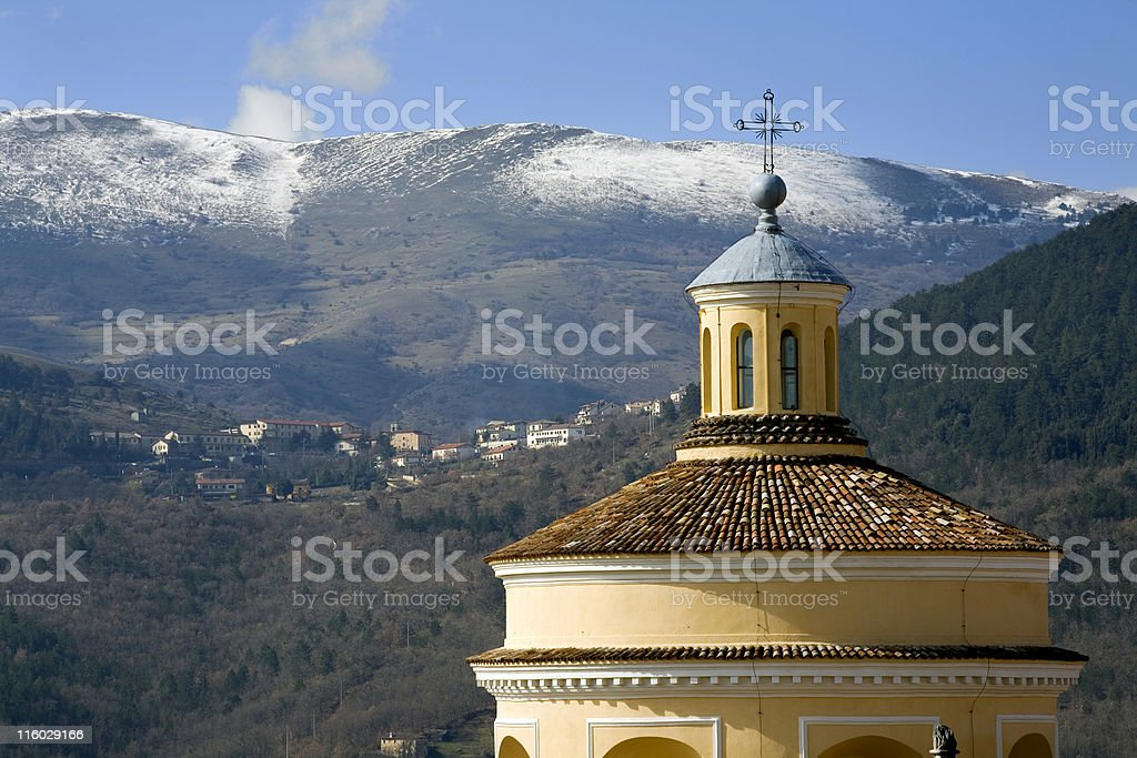 church among the mountains stock photo