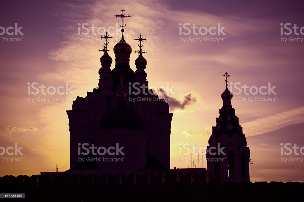 Church and bell tower in the sunset light royalty-free stock photo