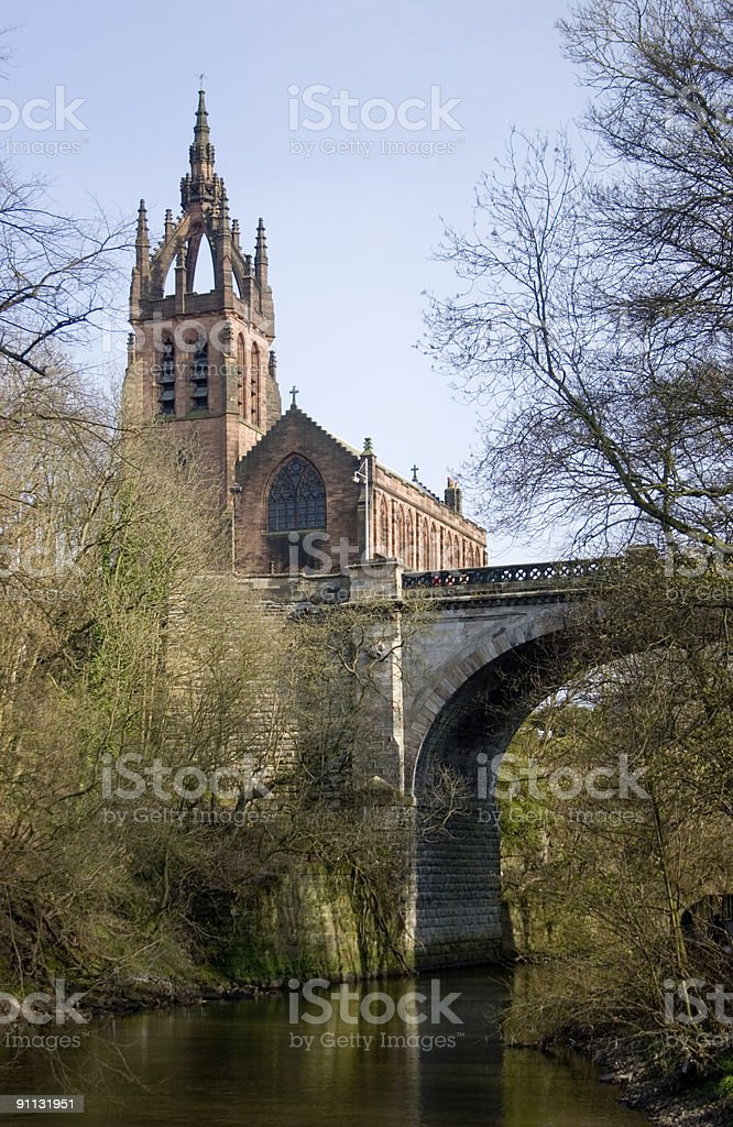Church and Bridge Above River royalty-free stock photo
