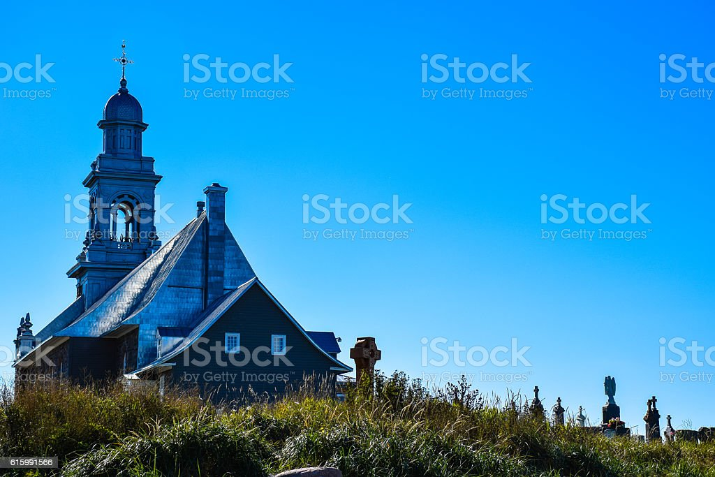 Church and cemetery in Ste-Luce, Canada royalty-free stock photo
