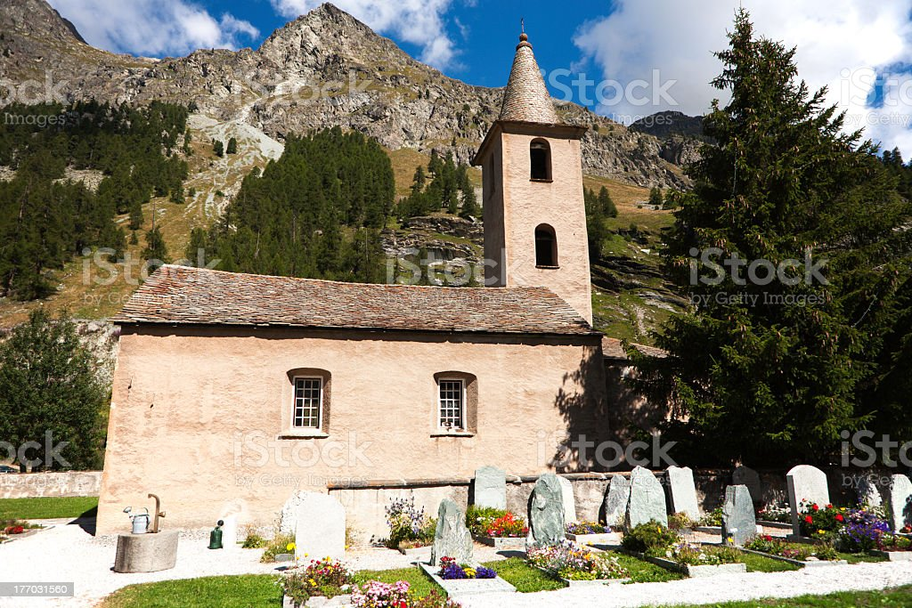 Church and cemetery royalty-free stock photo