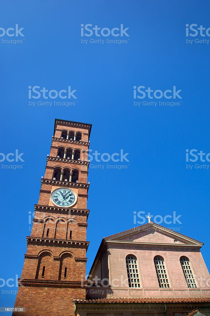 Church and Clock Tower royalty-free stock photo