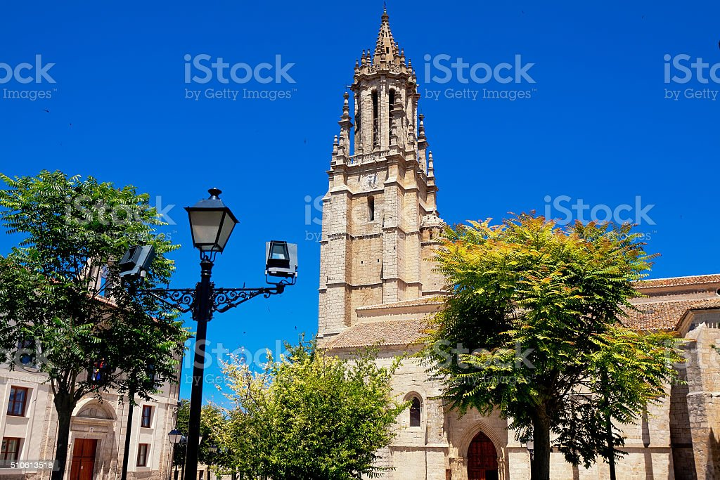 church and collegiate of San Miguel in Ampudia, Palencia, Spain stock photo