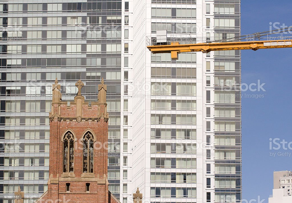 Church and Crane royalty-free stock photo