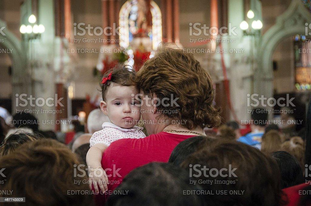 Church and Family stock photo