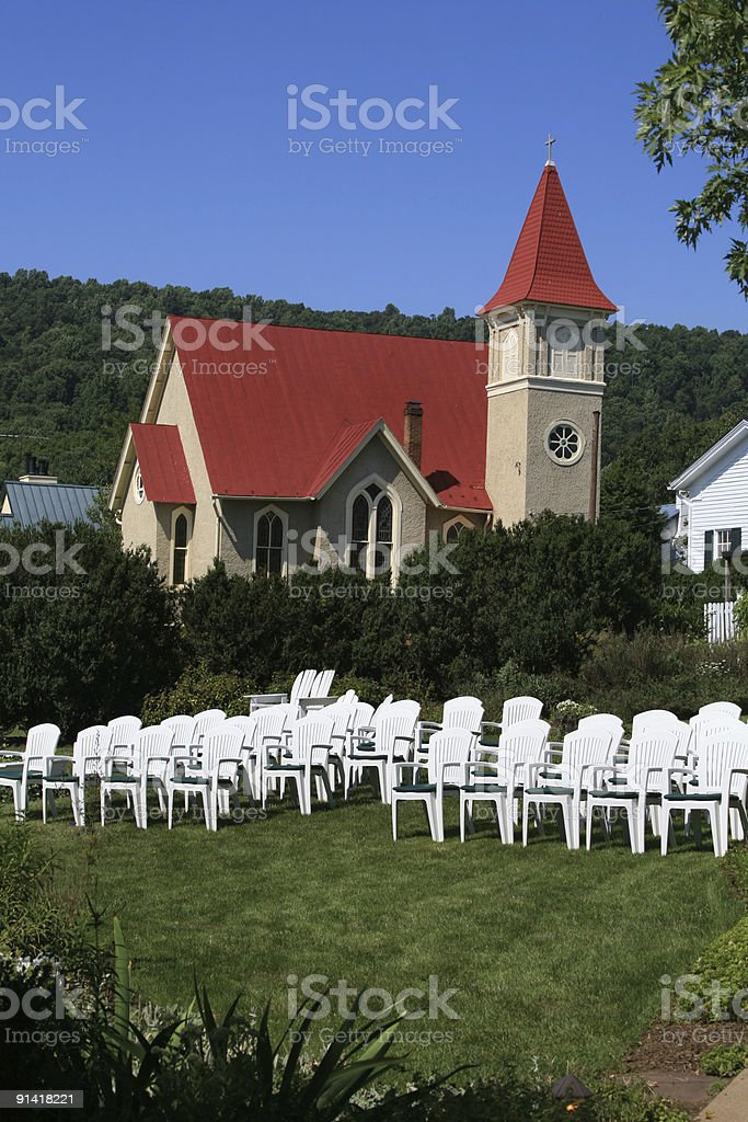 Church and  Garden Wedding Chairs royalty-free stock photo
