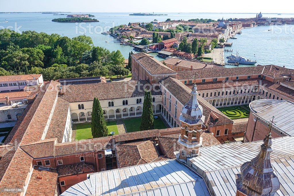 Church and gardens of San Giorgio Maggiore Venice Lizenzfreies stock-foto