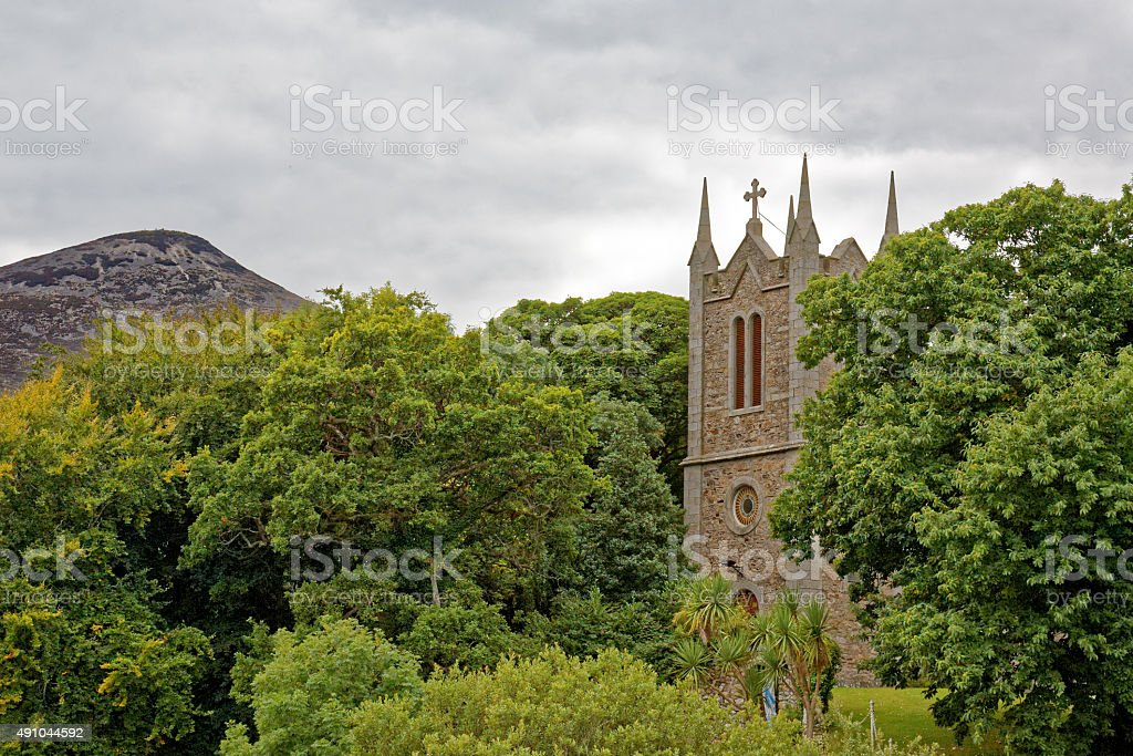 Church and Great Sugarloaf stock photo