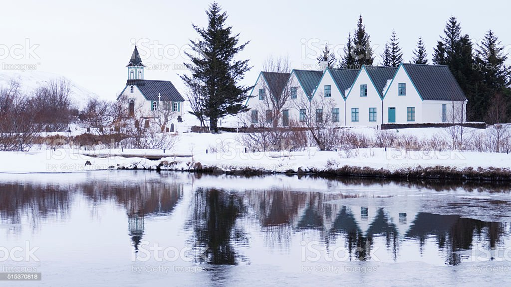 Church and houses in Thingvellir National Park in Iceland stock photo