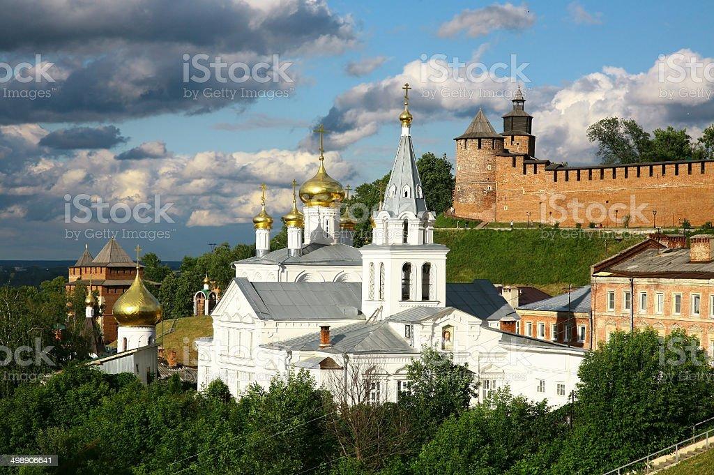 Church and Kremlin Nizhny Novgorod stock photo