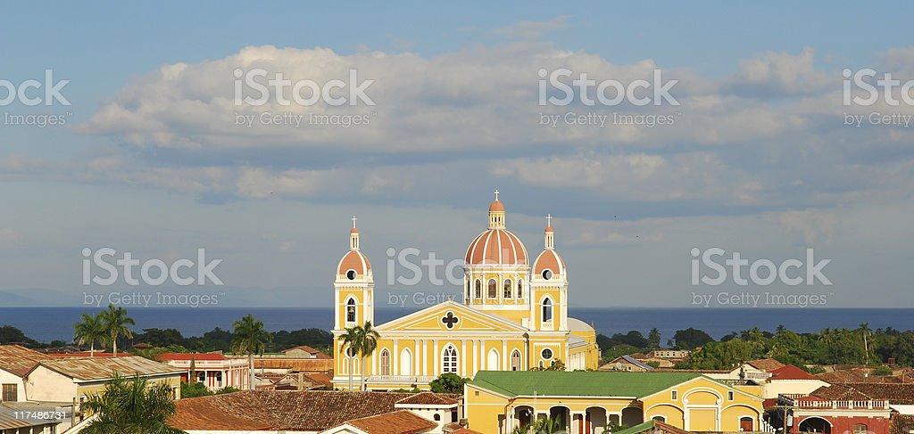 Church and Lake Nicaragua - Granada, Nicaragua royalty-free stock photo