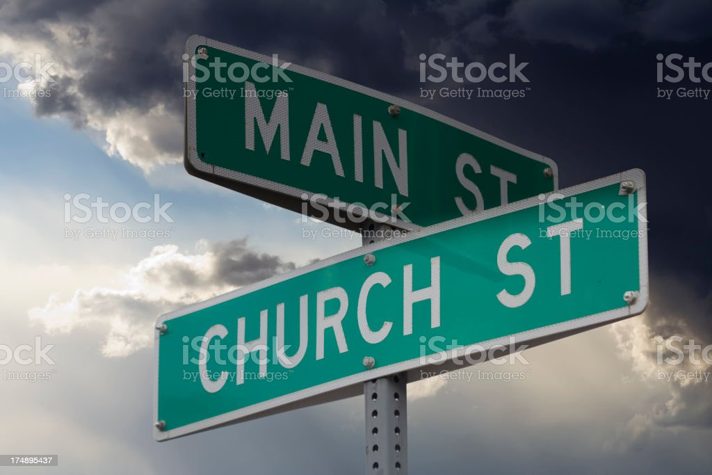 Church and Main Street - Detail stock photo