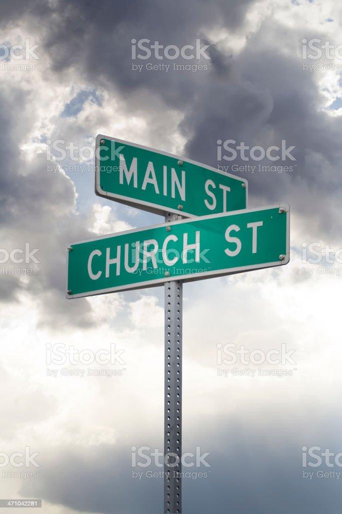 Church and Main Street stock photo