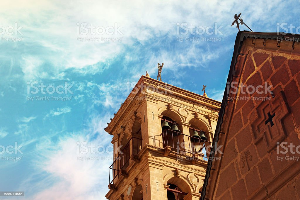 Church and monastery in Saint Catherine (Egypt, Sinai). stock photo