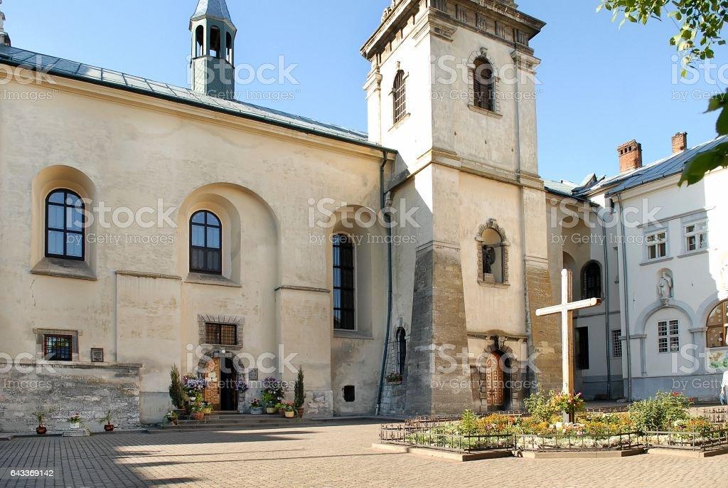 Church and monastery of Benedictine stock photo