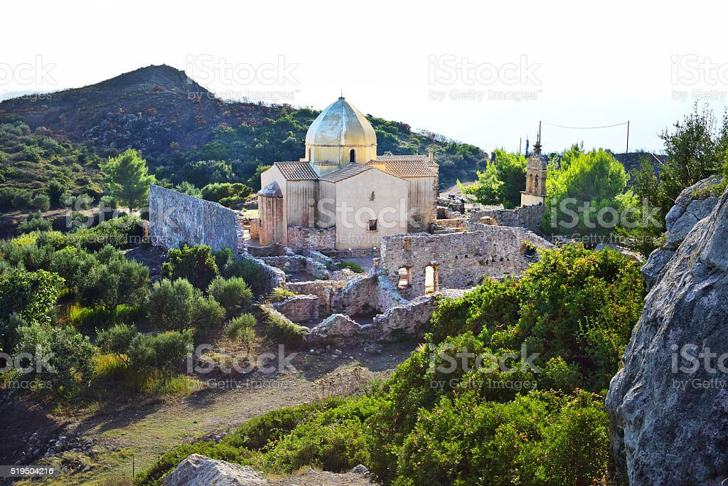 Church and monastery ruins in Zakynthos, Greece stock photo