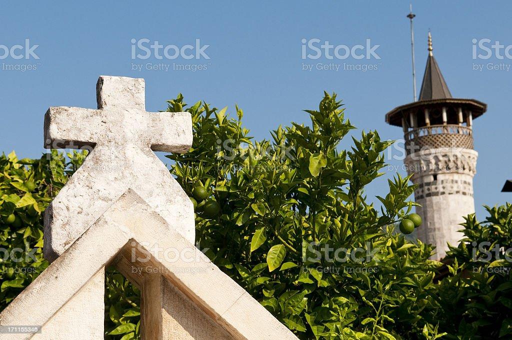 Church and Mosque in Antakya, Hatay, Turkey stock photo