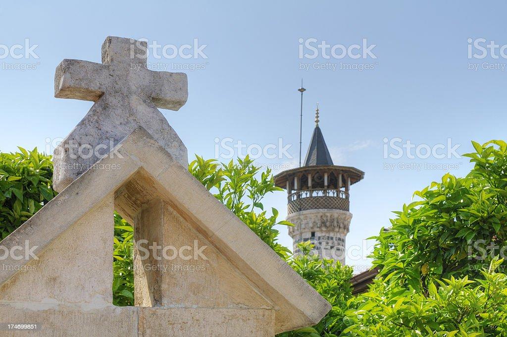 Church and Mosque in Antakya, Turkey stock photo