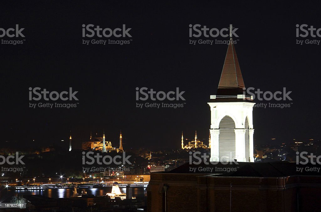 church and mosque in istanbul stock photo