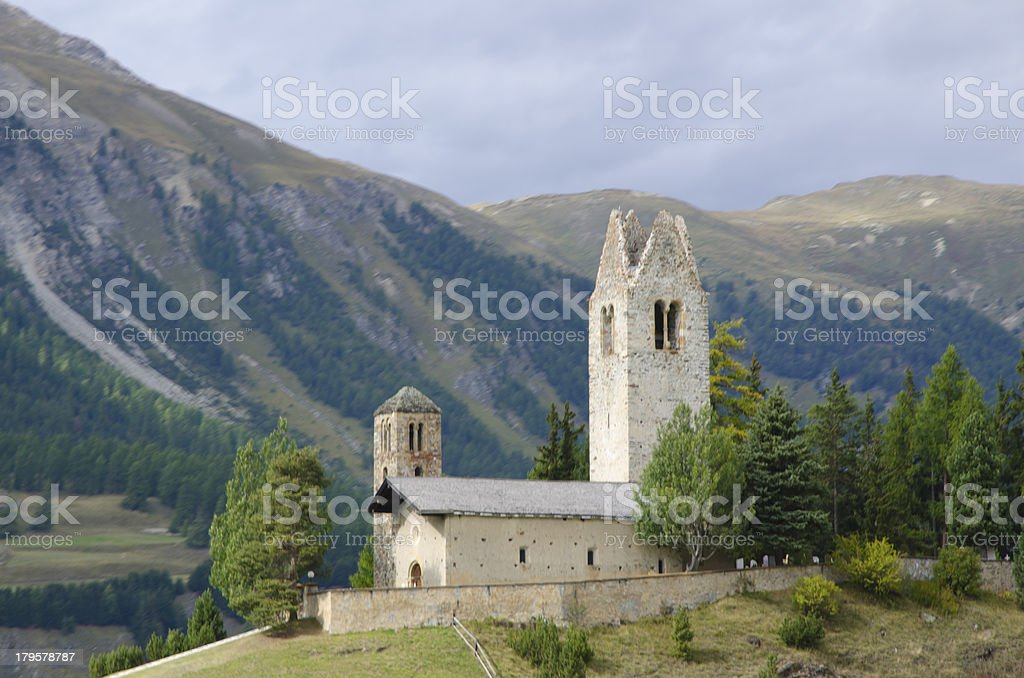 Church and mountain royalty-free stock photo
