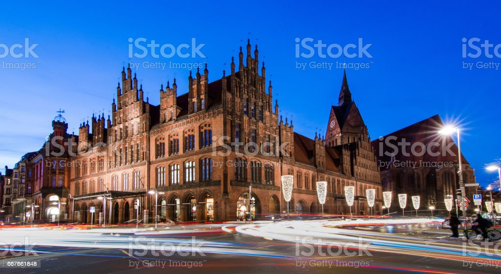 Church and Old Town Hal, Hannover, Germany stock photo