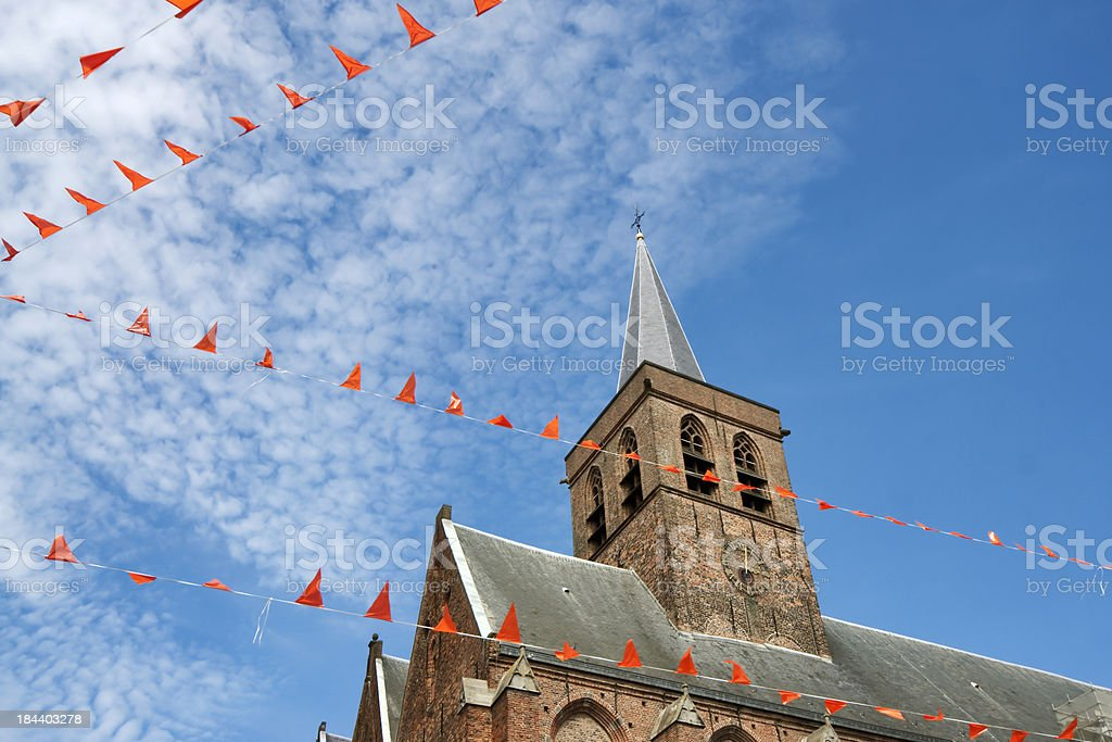 Church and orange flags in Amersfoort stock photo