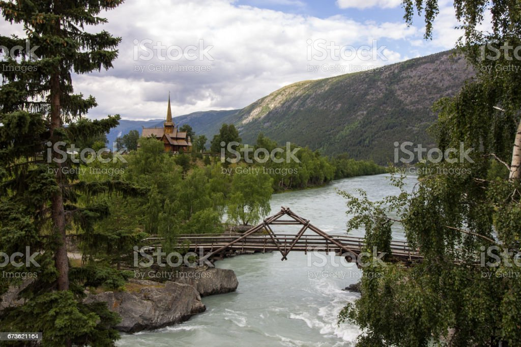 church and Otta River in Lom in Norway stock photo