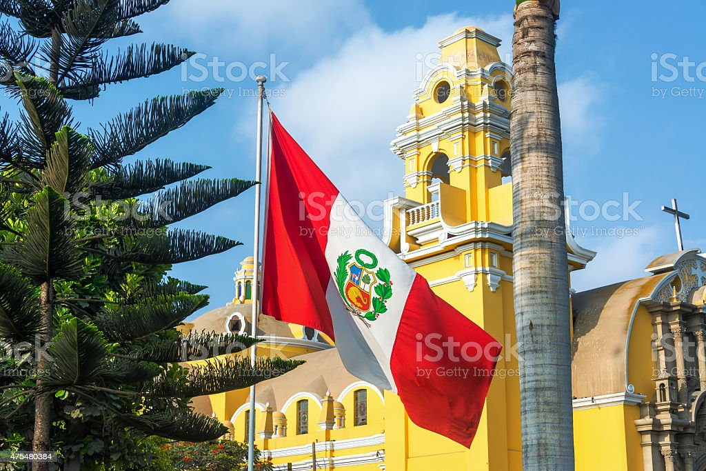 Church and Peruvian Flag stock photo