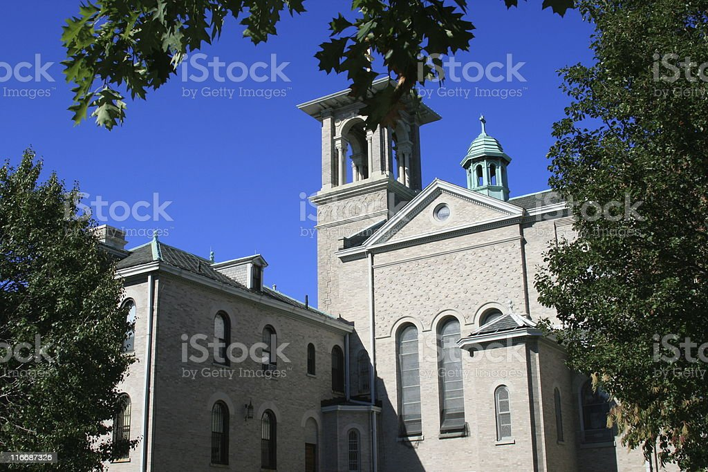 Church and  Private Elementary School royalty-free stock photo