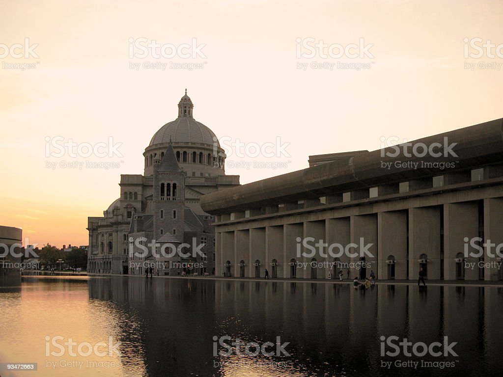 Church and reflecting pool stock photo