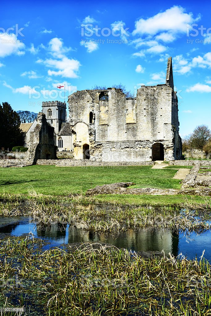Church and ruin in Oxfordshire, England stock photo