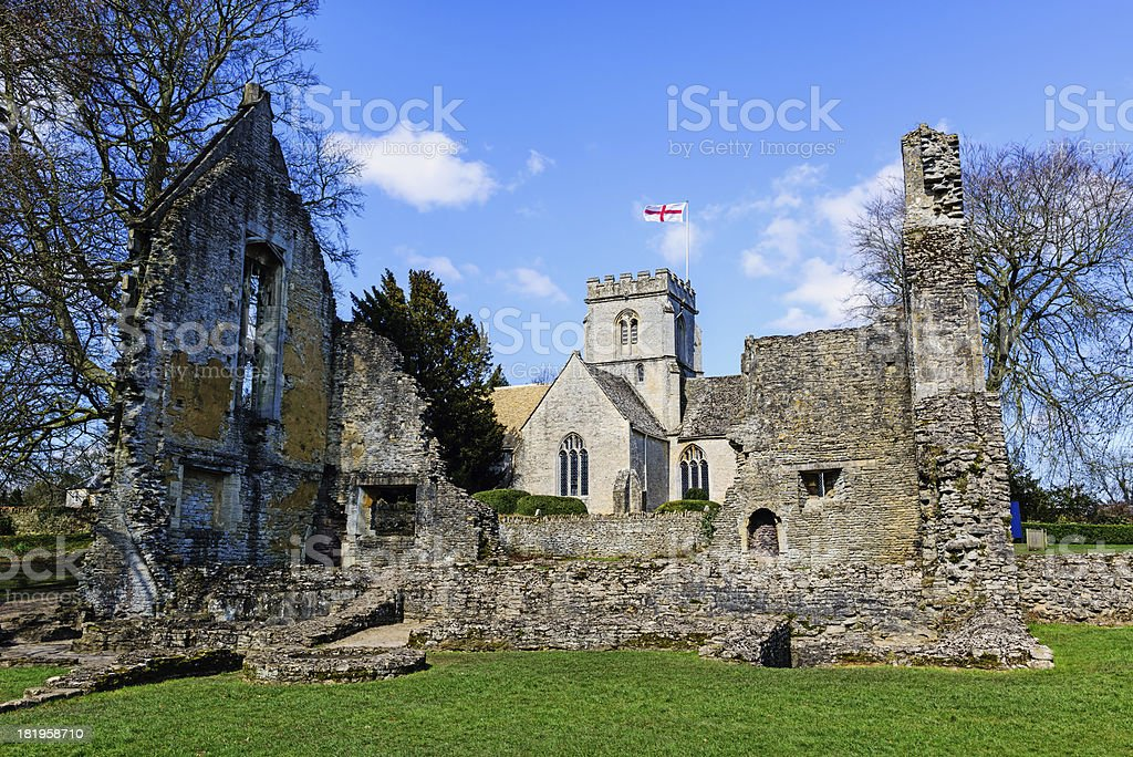 'Church and Ruins in Minster Lovell, Oxfordshire, England' stock photo