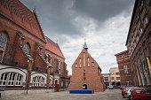 Church and school in Auschwitz, Oswiecim. Name of Salesian priests.