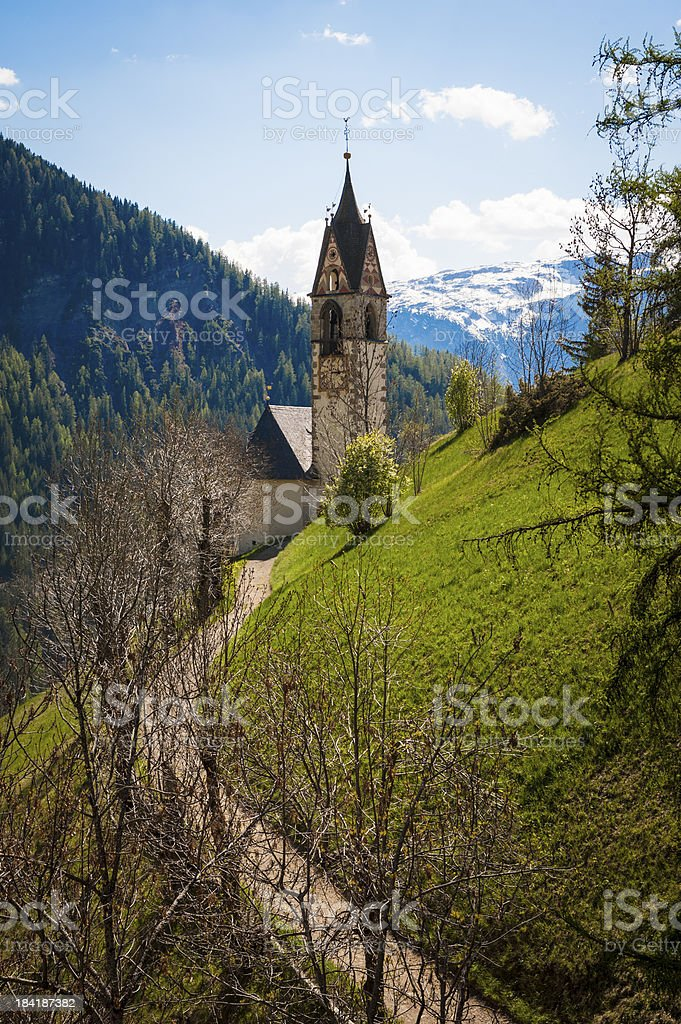 Church and steeple, Tyrolean region of Italy royalty-free stock photo