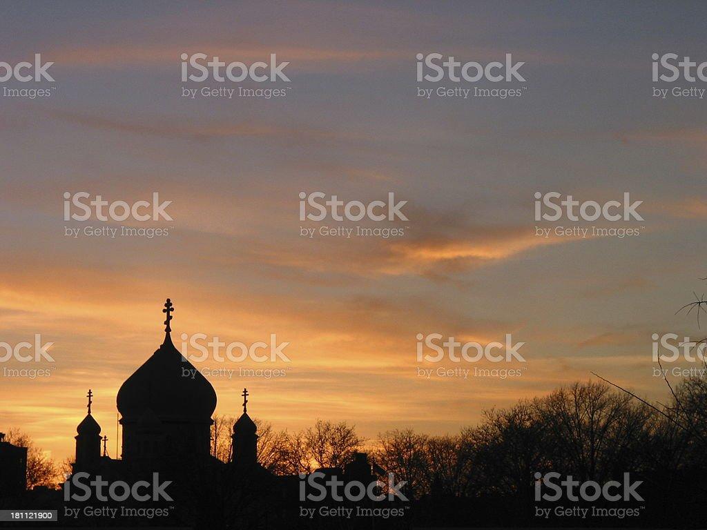 church and sunset stock photo